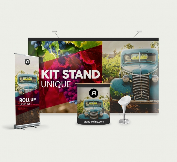 Kit stand Xtension 18 m2 : 2 parapluies Xtension, 1 comptoir et 1 roll-up